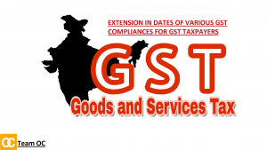 EXTENSION IN DATES OF VARIOUS GST COMPLIANCES FOR GST TAXPAYERS